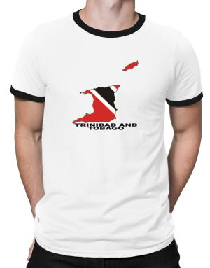 Trinidad And Tobago - Country Map Color Ringer T-Shirt