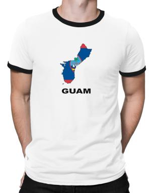 Guam - Country Map Color Ringer T-Shirt