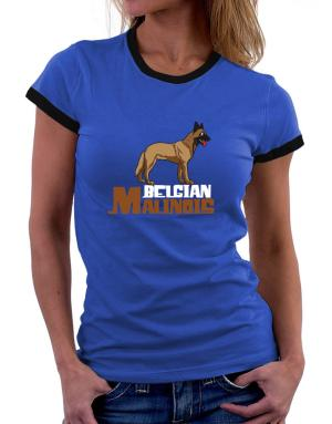 Belgian malinois cute dog Women Ringer T-Shirt