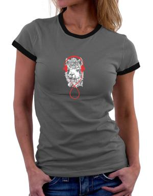 Llama with headphones Women Ringer T-Shirt