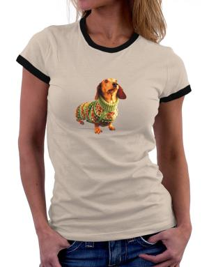 Dachshund christmas sweater Women Ringer T-Shirt