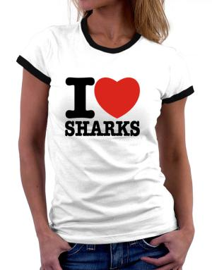 I Love Sharks Women Ringer T-Shirt