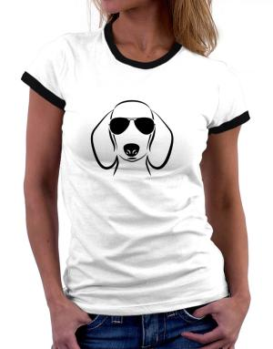 Dachshund Sunglasses Women Ringer T-Shirt