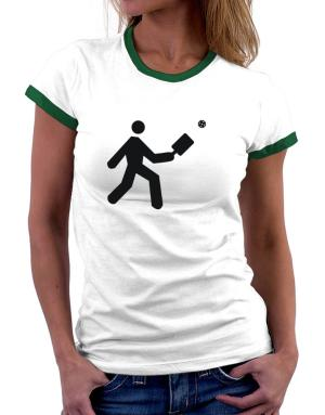 Pickleball Stickman Women Ringer T-Shirt