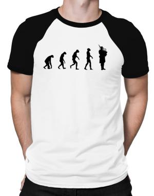 Evolution man to bagpipe Raglan T-Shirt