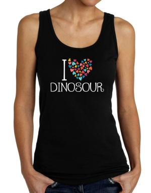 I love Dinosour colorful hearts Tank Top Women