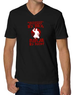 Mechanical Engineer By Day, Ninja By Night V-Neck T-Shirt