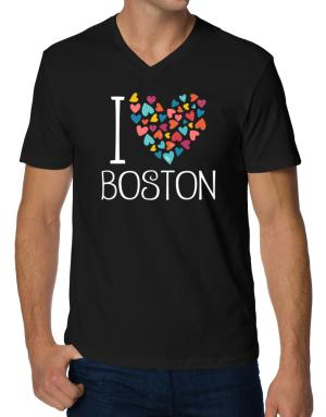 I love Boston colorful hearts V-Neck T-Shirt