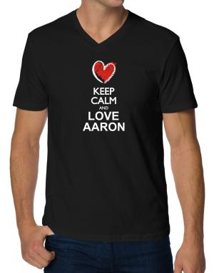 Keep calm and love Aaron chalk style V-Neck T-Shirt