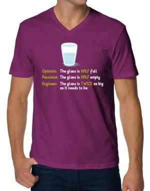Camisetas Cuello V de Optimist pessimist engineer glass problem