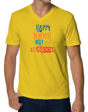 Happy 100th day of school cool style V-Neck T-Shirt