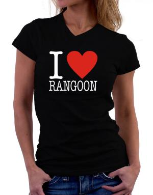 I Love Rangoon Classic T-Shirt - V-Neck-Womens