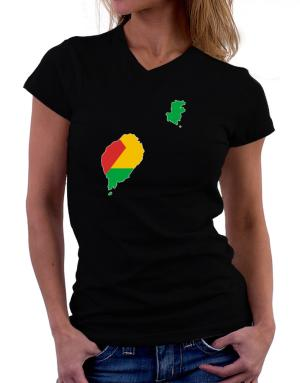 Sao Tome And Principe - Country Map Color Simple T-Shirt - V-Neck-Womens