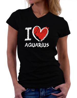I love Aquarius chalk style T-Shirt - V-Neck-Womens