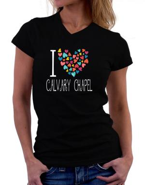 I love Calvary Chapel colorful hearts T-Shirt - V-Neck-Womens