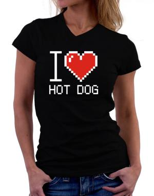 I love Hot Dog pixelated T-Shirt - V-Neck-Womens