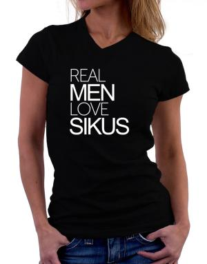 Real men love Sikus T-Shirt - V-Neck-Womens