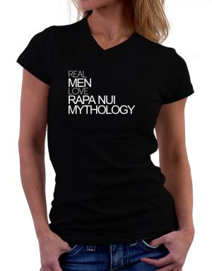 Real men love Rapa Nui Mythology T-Shirt - V-Neck-Womens