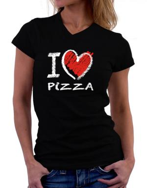 I love Pizza chalk style T-Shirt - V-Neck-Womens
