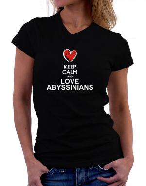 Keep calm and love Abyssinians chalk style T-Shirt - V-Neck-Womens