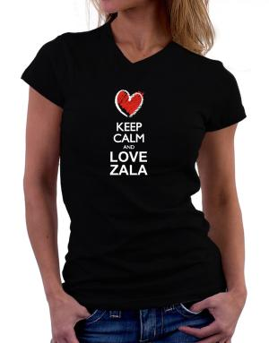 Keep calm and love Zala chalk style T-Shirt - V-Neck-Womens