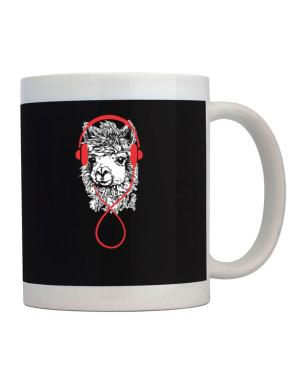 Llama with headphones Mug
