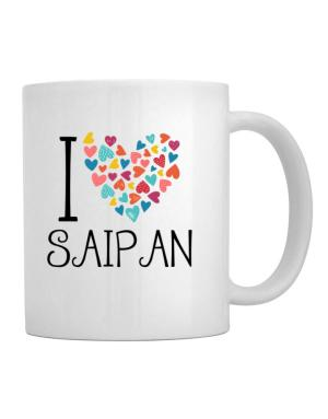 I love Saipan colorful hearts Mug