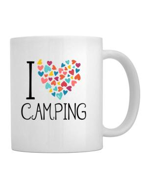 I love Camping colorful hearts Mug