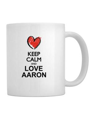 Keep calm and love Aaron chalk style Mug